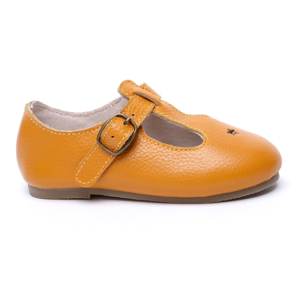 Children's T-bar Shoes Marigold Yellow for Children & Kids & little girls. Natural Leather 12 - Kit & Kate 12