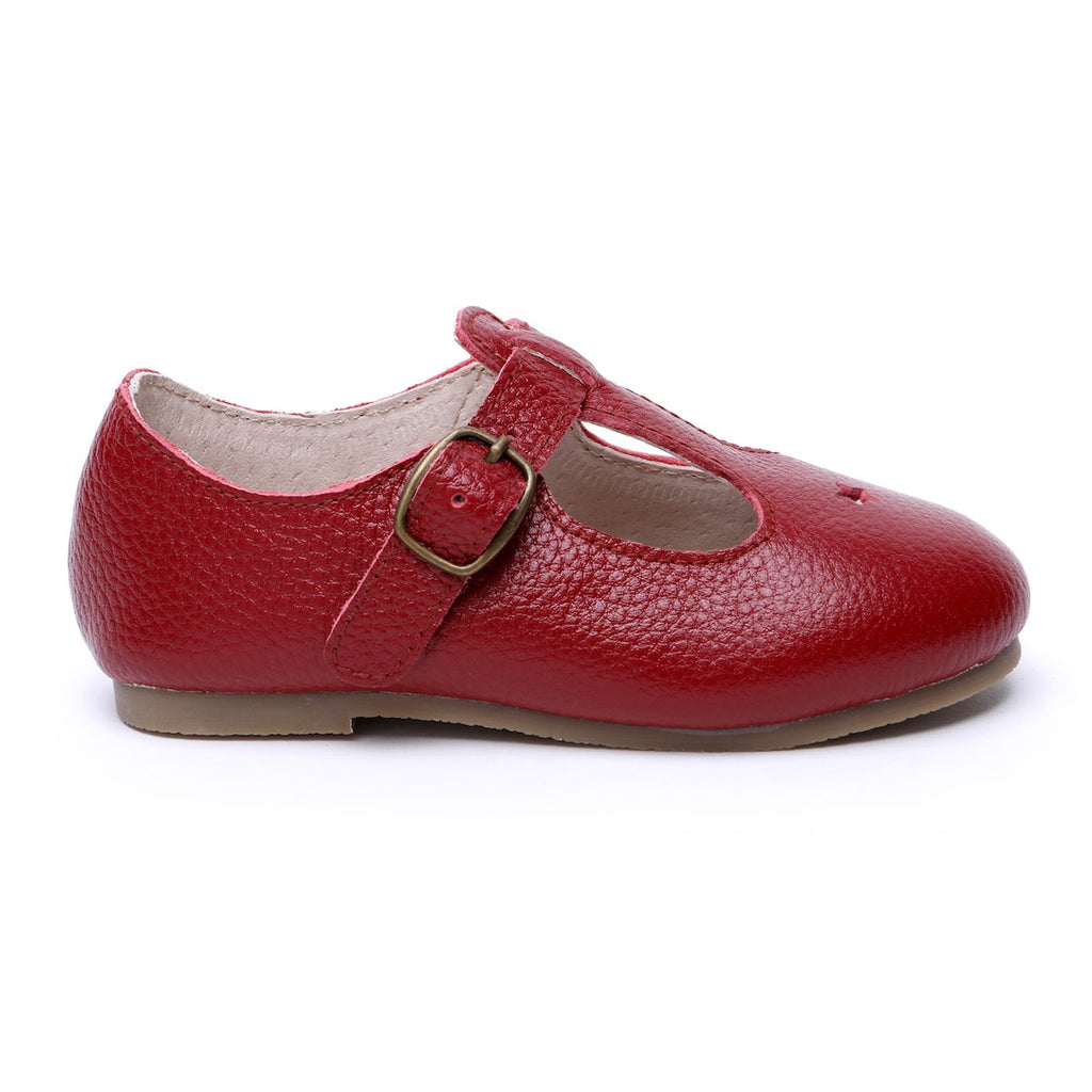 Children's T-bar Shoes Berry Red Colour for Children & Kids & little girls. Natural Leather Kit & Kate Australia 6