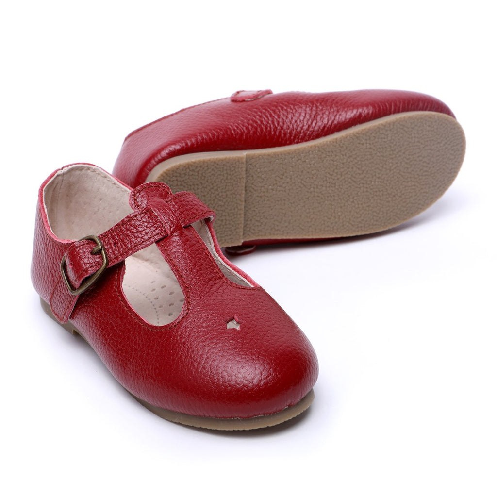 Children's T-bar Shoes Berry Red Colour for Children & Kids & little girls. Natural Leather Kit & Kate Australia 7