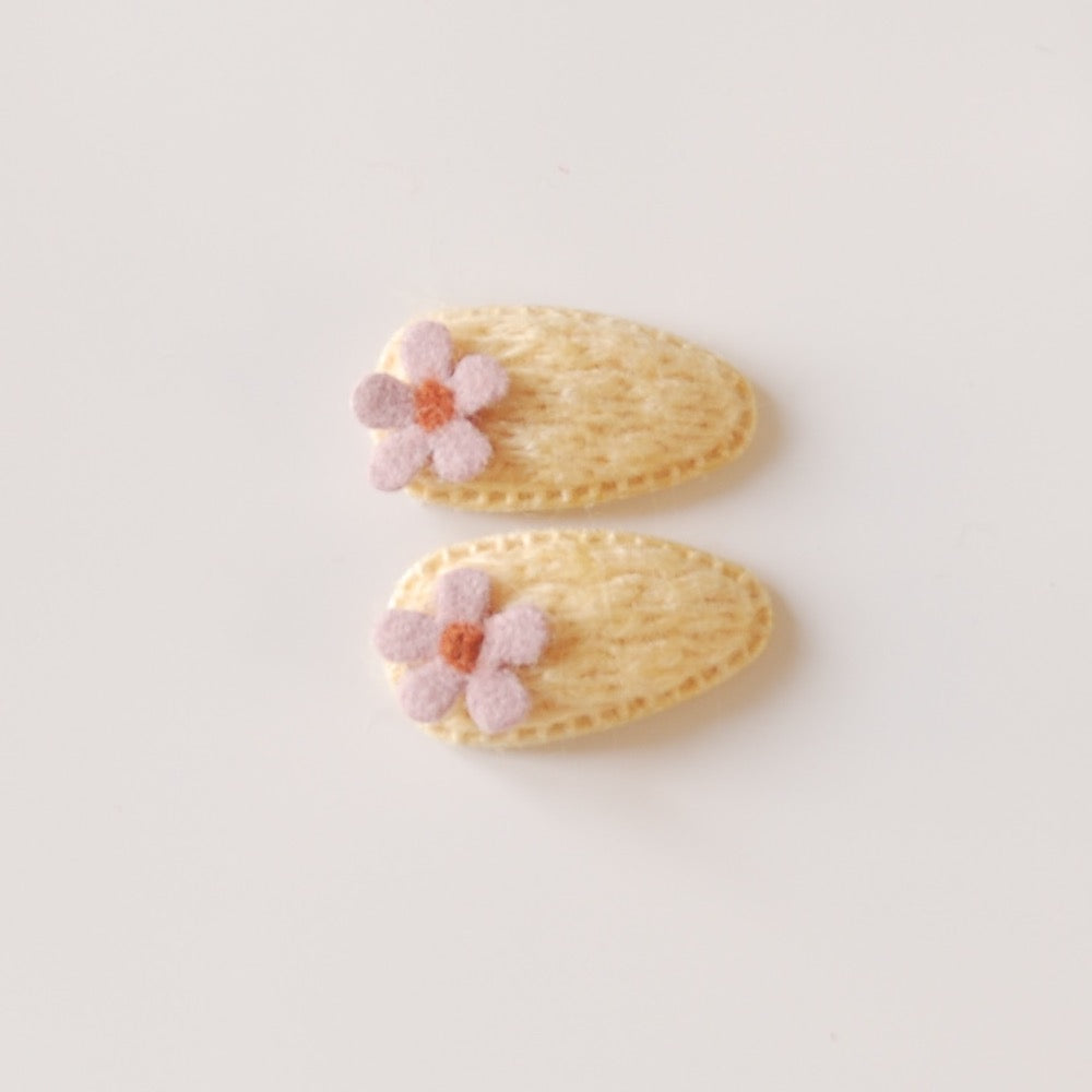 Kit & Kate Bloom Children's Knit Hair Clips - Yellow
