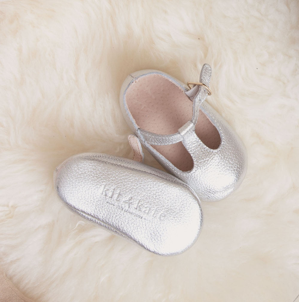 Baby Shoes - Silver Paris baby t-bar shoes for babies & toddlers little girls,, soft soles natural leather Kit & Kate c35