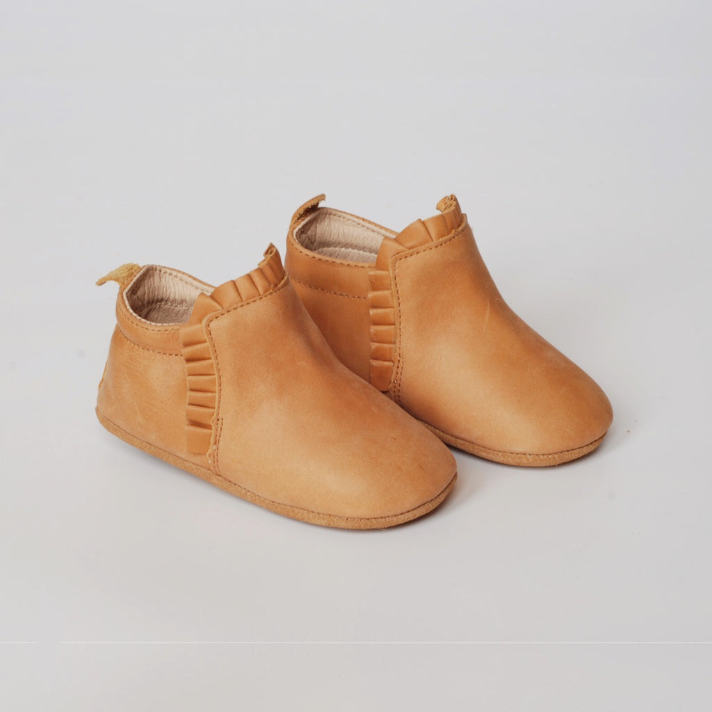 Brown baby boots / shoes in natural leather with soft soles by Kit & Kate Australia Perth