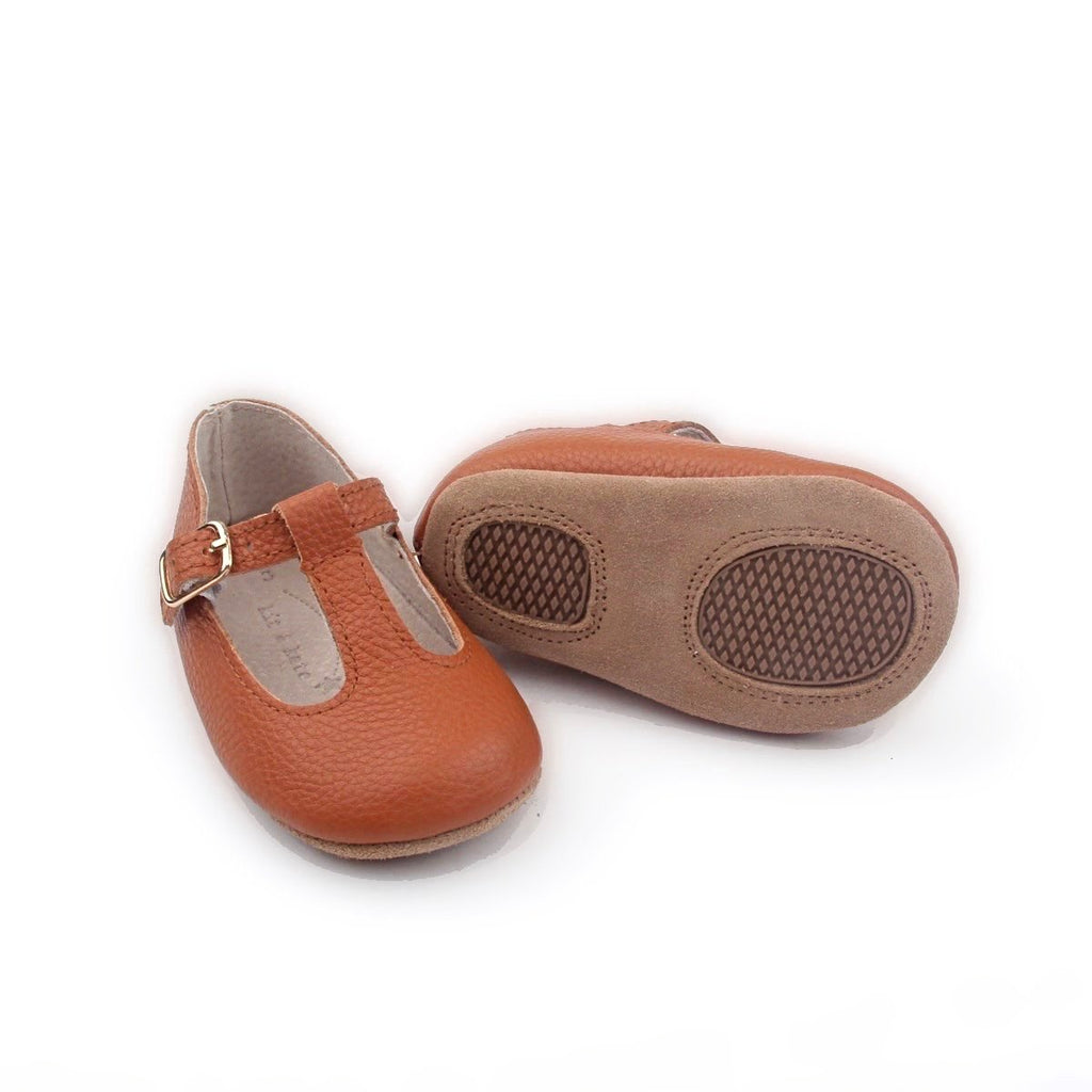 Baby Shoes - Tan Paris baby t-bar shoes for babies & toddlers little girls,, soft soles natural leather Kit & Kate c31
