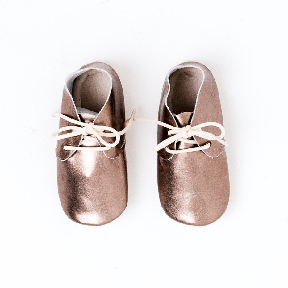 Baby Shoes - Metallic Silver Platinum Oxford Shoes for Babies & Toddlers. Soft Soles Natural Leather boys & Girls Kit & Kate Perth Western Australia 3