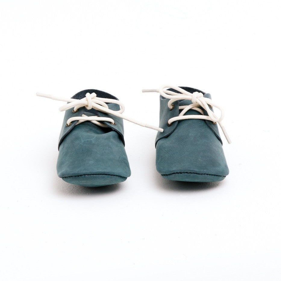 Baby Shoes - Teal Nubuck Oxford Shoes for Babies & Toddlers. Soft Soles Natural Leather boys & Girls Kit & Kate Perth Western Australia 2