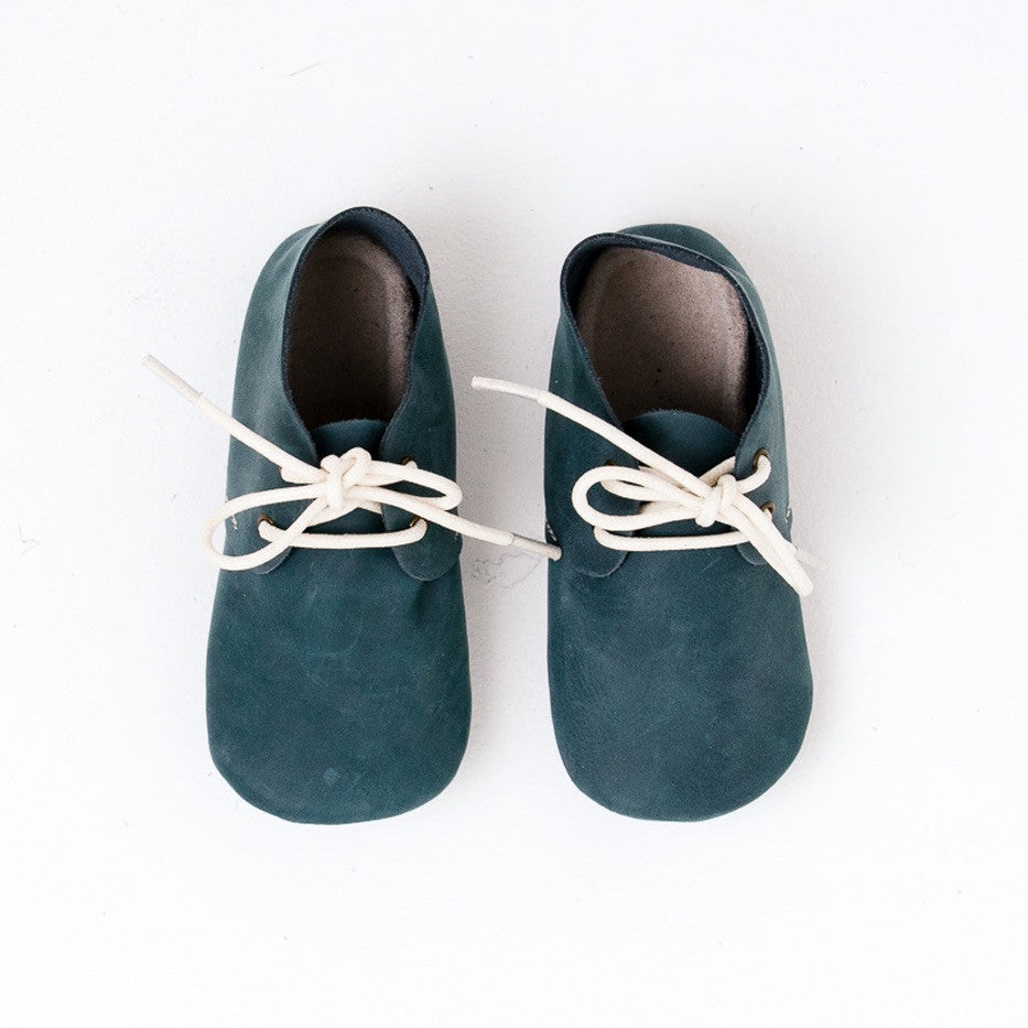 Baby Shoes - Teal Nubuck Oxford Shoes for Babies & Toddlers. Soft Soles Natural Leather boys & Girls Kit & Kate Perth Western Australia 4