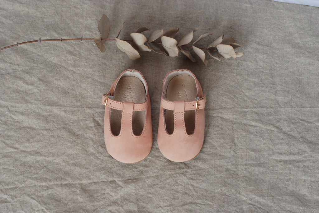 Baby Shoes - Paris baby t-bar pink nubuck natural leather shoes for babies & toddlers  Girls Kit & Kate , soft soled 3