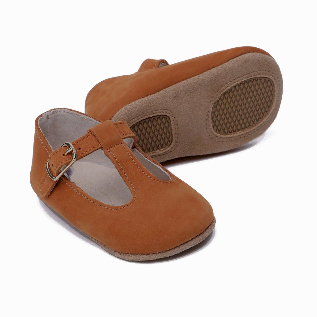 Baby Shoes - Paris baby t-bar shoes for babies & toddlers, tan suede soft soles natural leather  Girls Kit & Kate 5