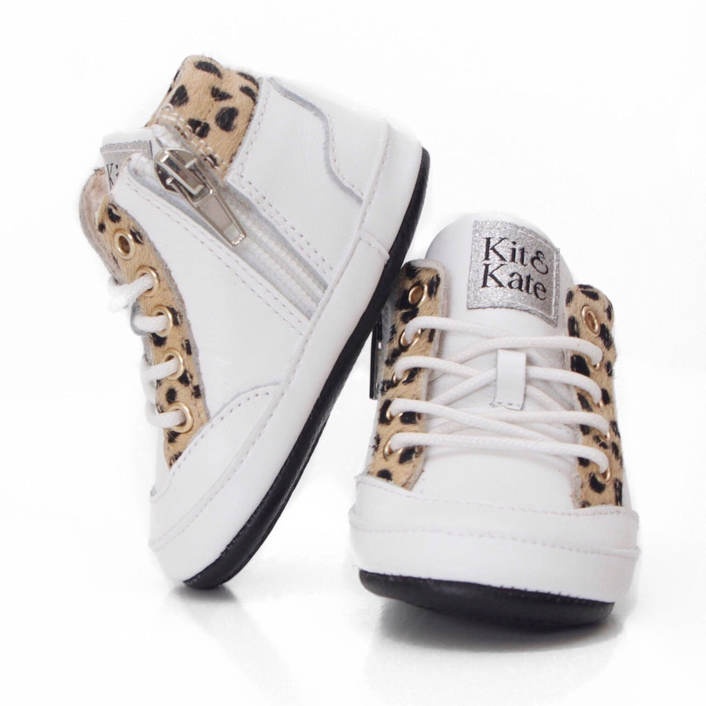 Baby Shoes - Cheetah White Brooklyn Sneakers / Hightops - Shoes for babies & toddlers, soft soles natural leather Boys & Grls  Kit & Kate Australia 7