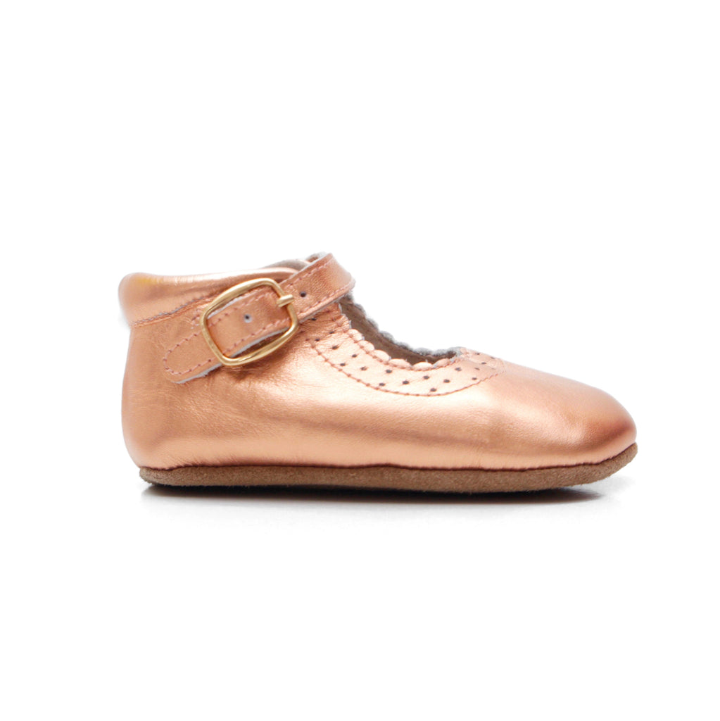Baby Shoes - Eleanor Mary-Janes - Rose Gold Shoes for babies & toddlers, girls, soft soles natural leather Kit & Kate 1