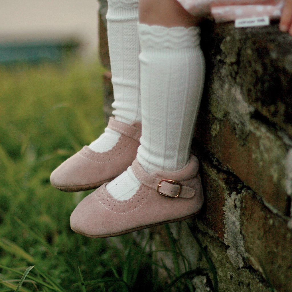 Baby Shoes - Eleanor Mary-Janes - Pink Shoes for babies & toddlers, girls, soft soles natural leather Kit & Kate 4