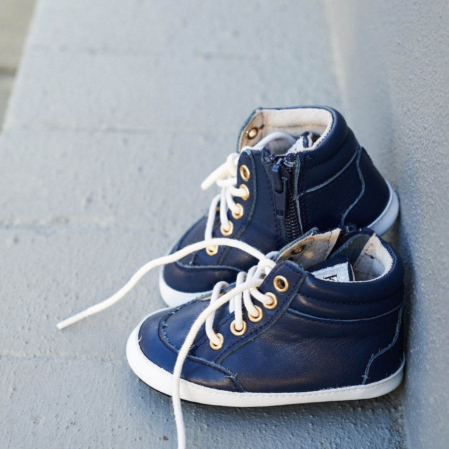 Baby Shoes - Dark Blue Navy Brooklyn Sneakers / Hightops - Shoes for babies & toddlers, soft soles natural leather Boys & Grls  Kit & Kate Australia 6