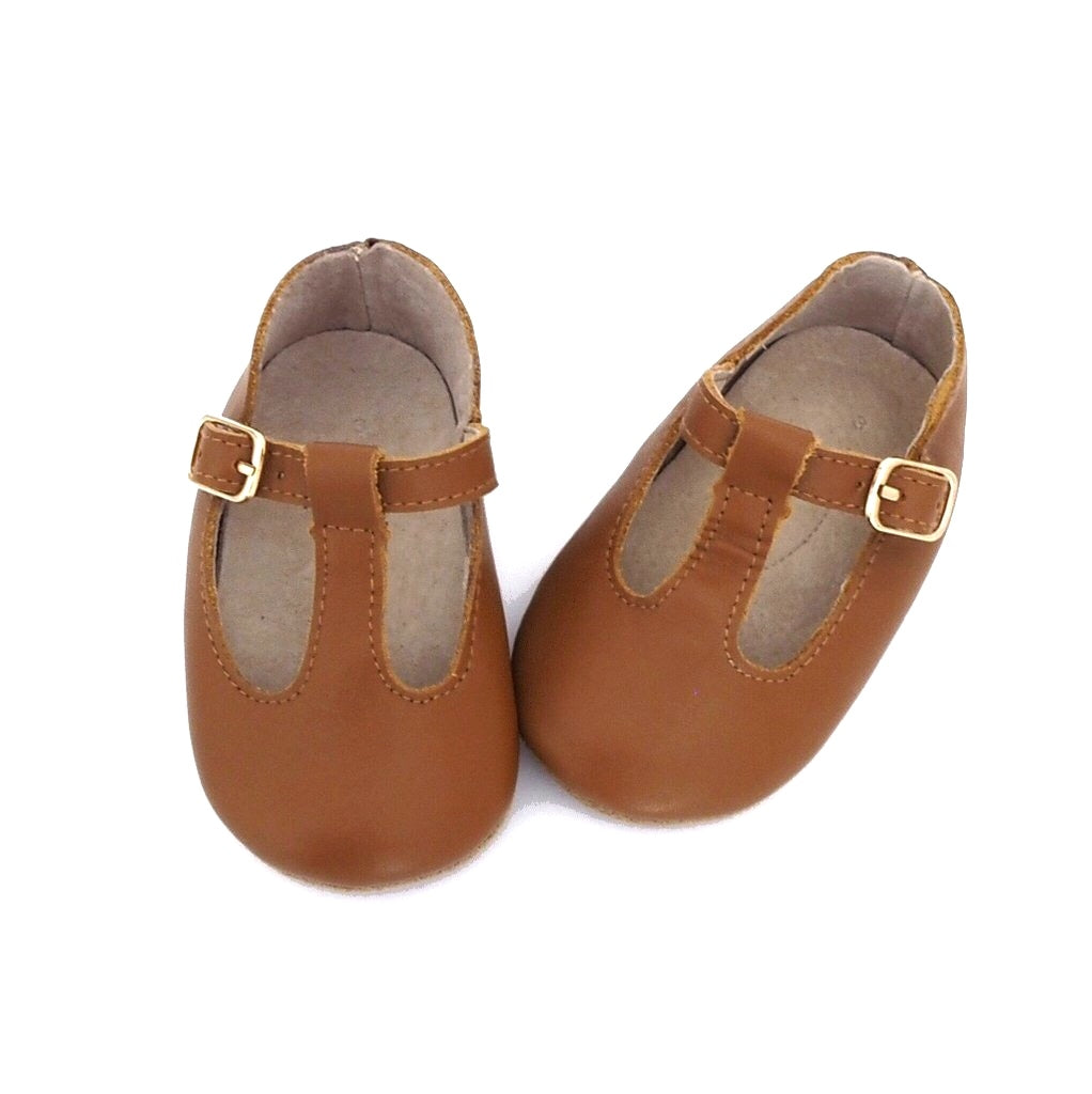 Baby Shoes - Paris baby t-bar shoes for babies & toddlers, little girls, soft soles natural leather light brown caramel  Kit & Kate15