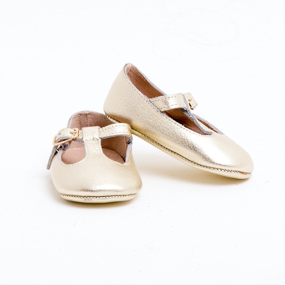 Baby Shoes - Gold Paris baby t-bar shoes for babies & toddlers little girls,, soft soles natural leather Kit & Kate c32