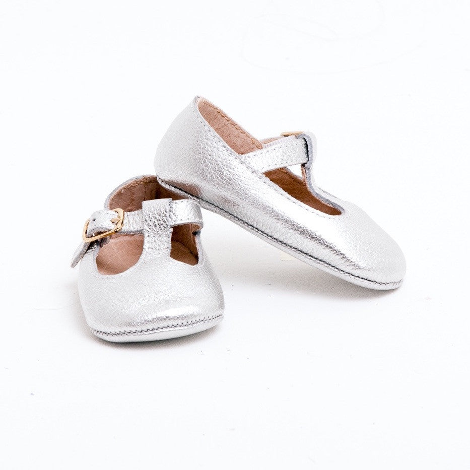 Baby Shoes - Silver Paris baby t-bar shoes for babies & toddlers little girls,, soft soles natural leather Kit & Kate c33
