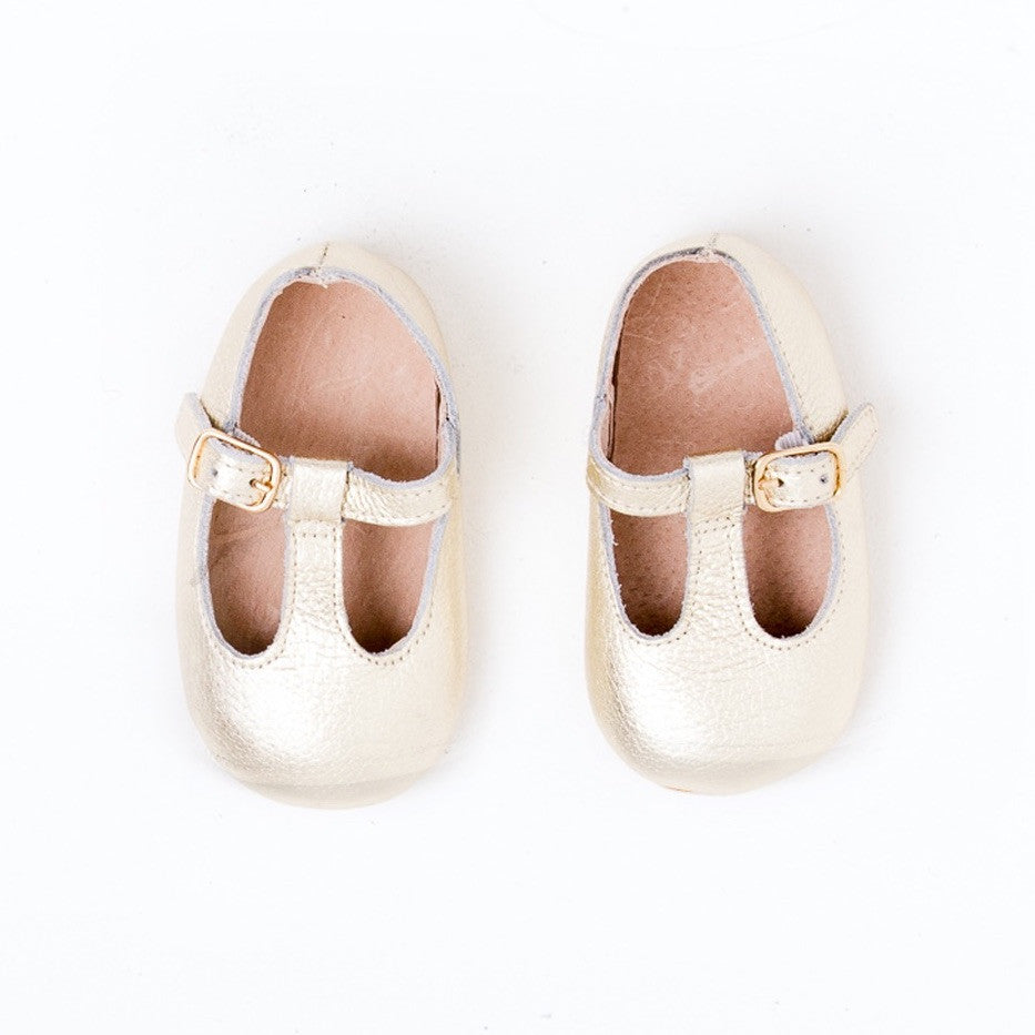 Baby Shoes - Gold Paris baby t-bar shoes for babies & toddlers little girls,, soft soles natural leather Kit & Kate c33