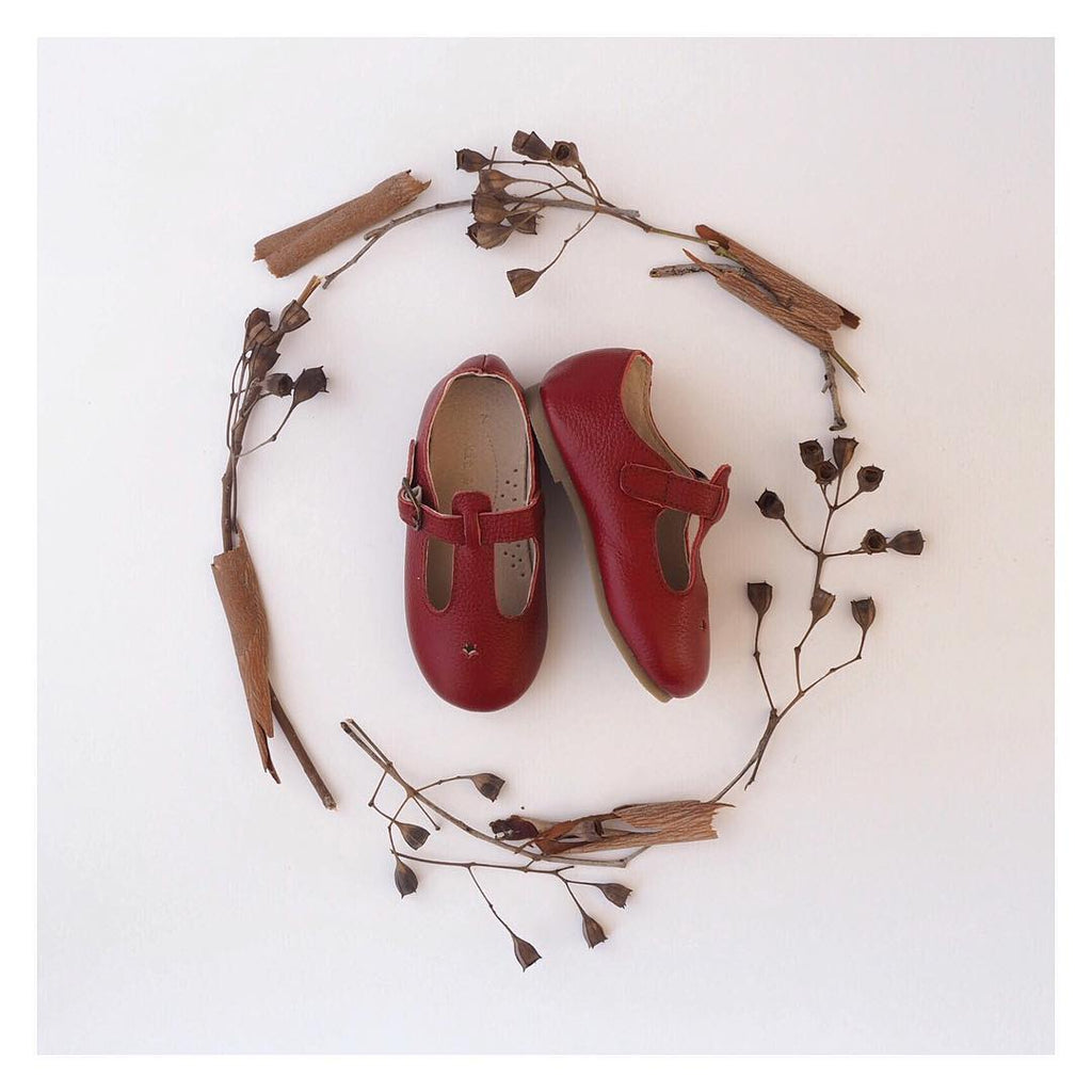 Children's T-bar Shoes Berry Red Colour for Children & Kids & little girls. Natural Leather Kit & Kate Australia 9