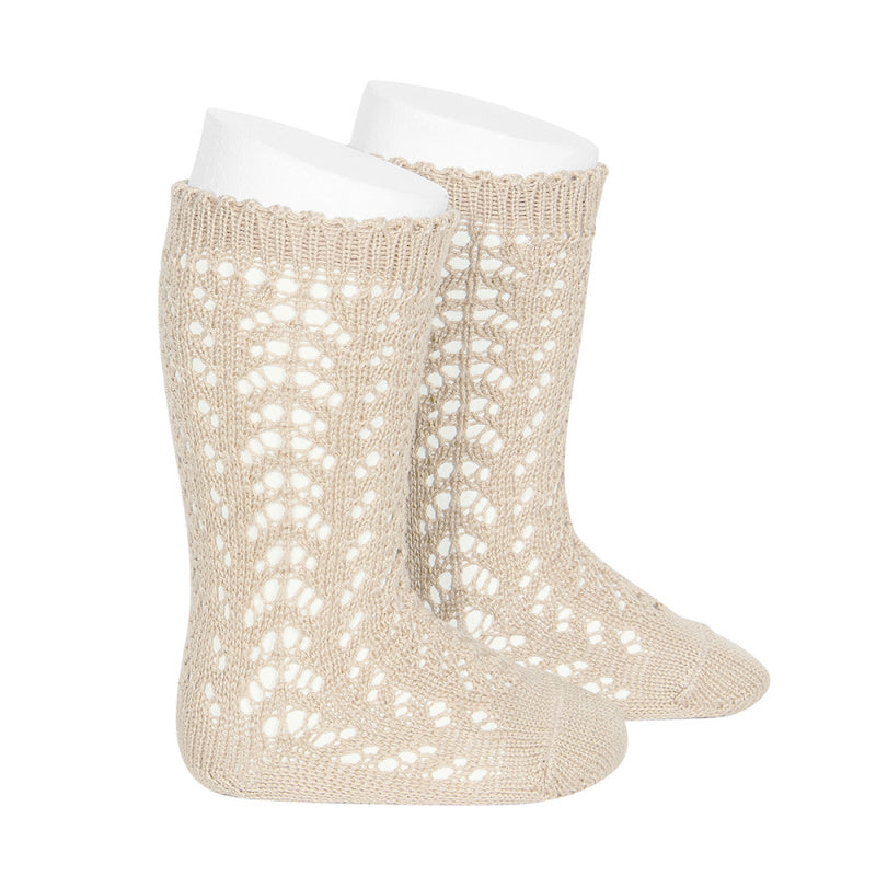 Condor Socks - Full Openwork, Knee High - Linen