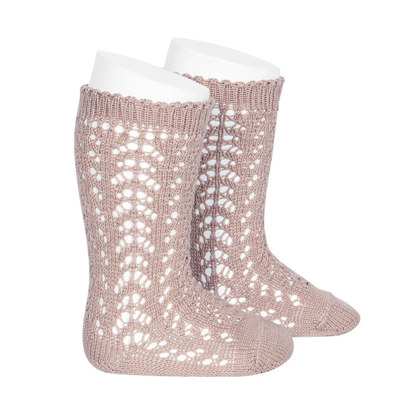Condor Socks - Openwork, Knee High - Old Rose