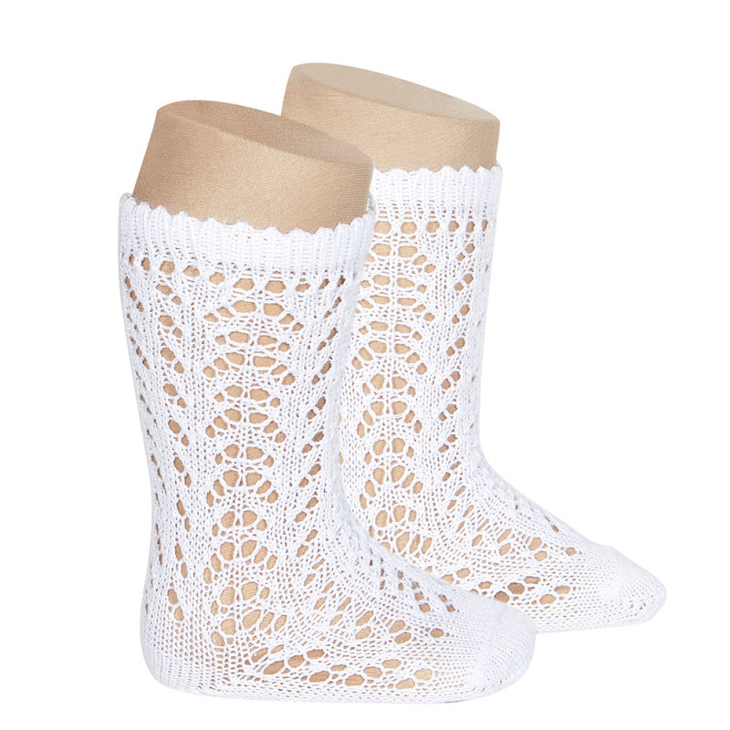 Condor Socks - Full Openwork, Knee High - White