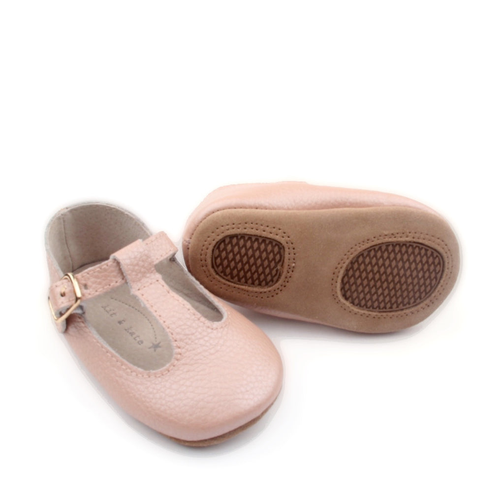 Baby Shoes - Paris patent pink baby t-bar shoes for babies & toddlers, Girls Kit & Kate soft soles natural leather 11