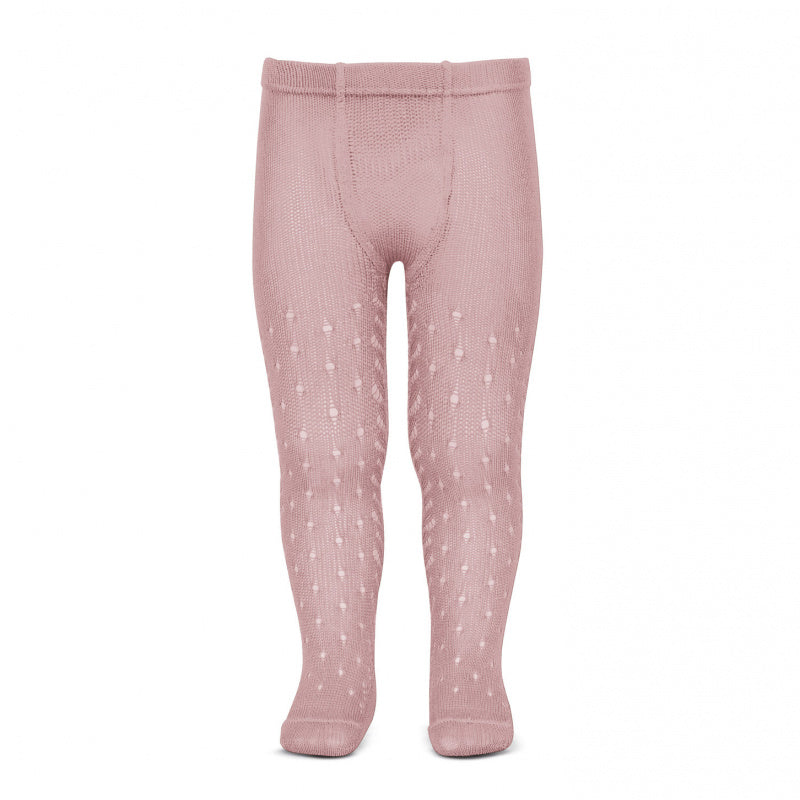Condor Tights - Full Openwork Lace in Pale Rose