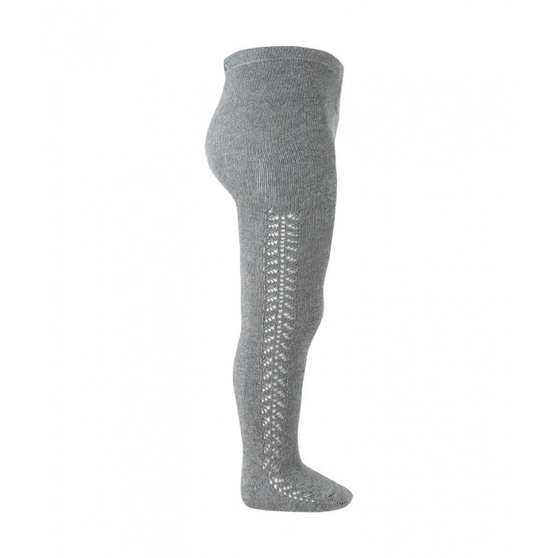 Condor Tights - Side Openwork Lace in Light Grey