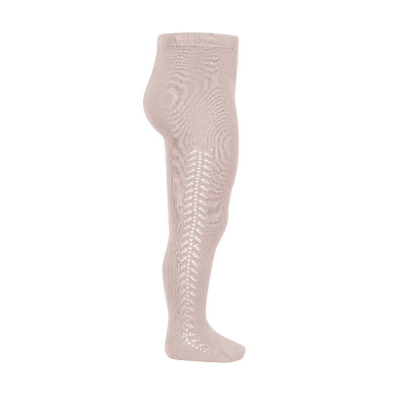 Condor Tights - Side Openwork Lace in Old Rose
