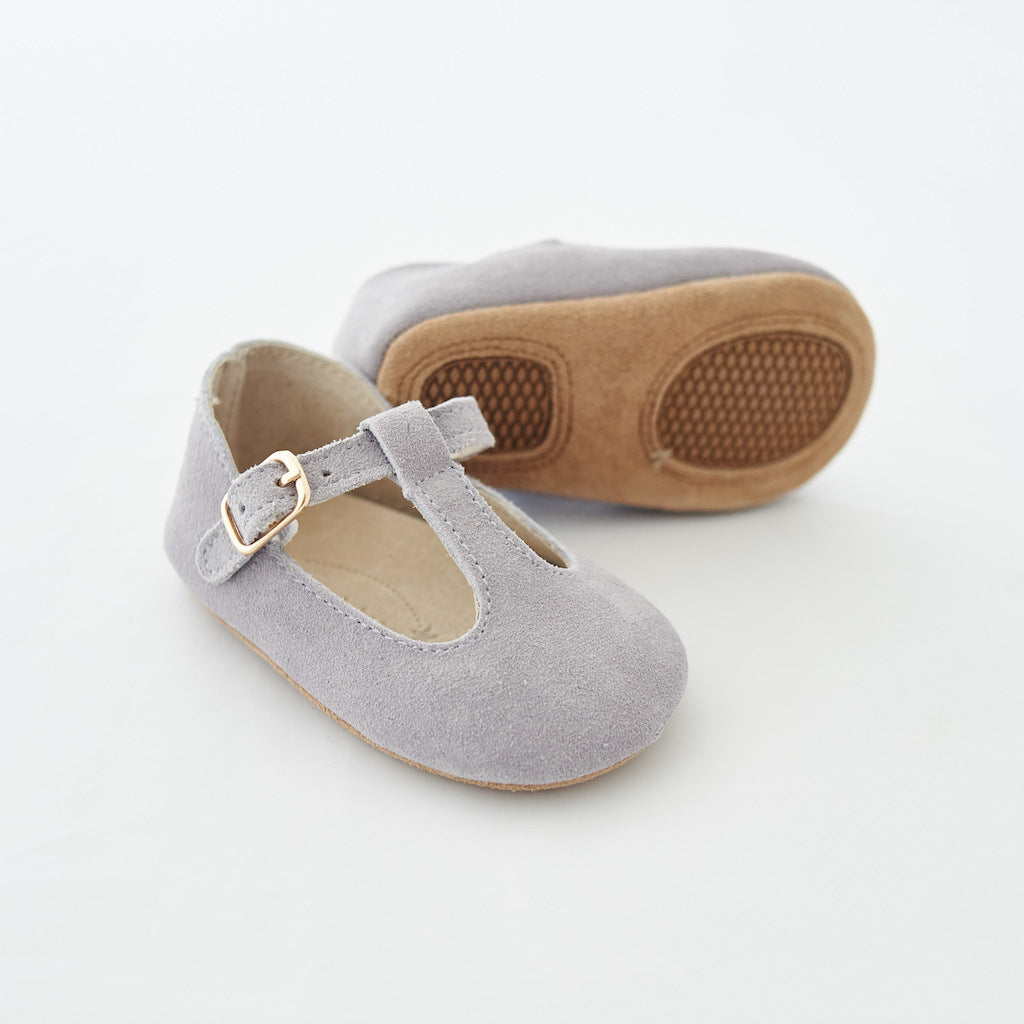 Baby Shoes - Paris baby t-bar shoes for babies & toddlers little girls,, soft soles natural leather light grey kit & kate 20