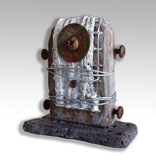 Wabi-Sabi desktop sculpture created with construction materials and found objects
