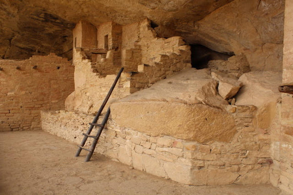 small ladder at a cliff dwelling mesa verde