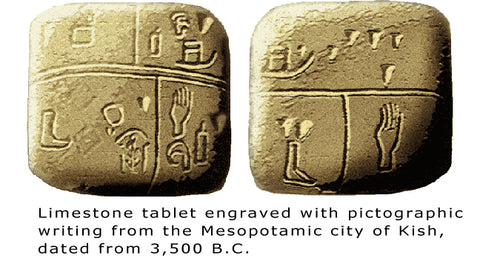 tablet with first written words