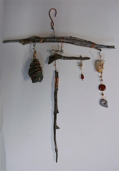 art mobile created with found objects
