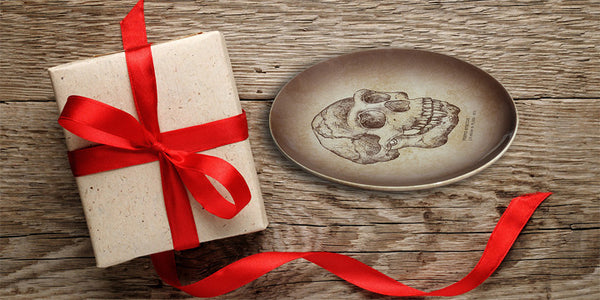 hand painted skull on ceramic plate gift