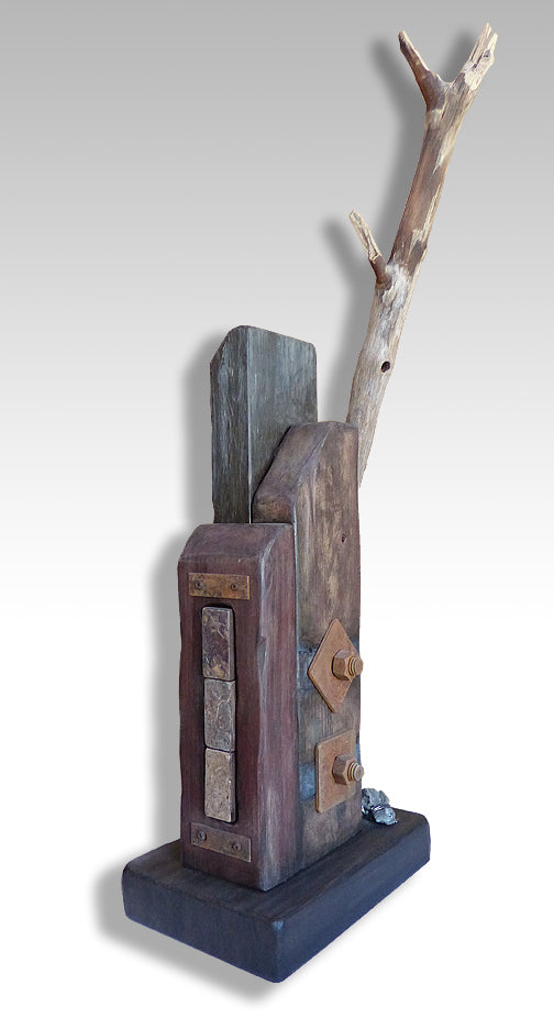 Wabi-Sabi sculpture created with construction materials and found objects