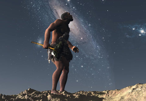 Homo erectus looking at the night sky