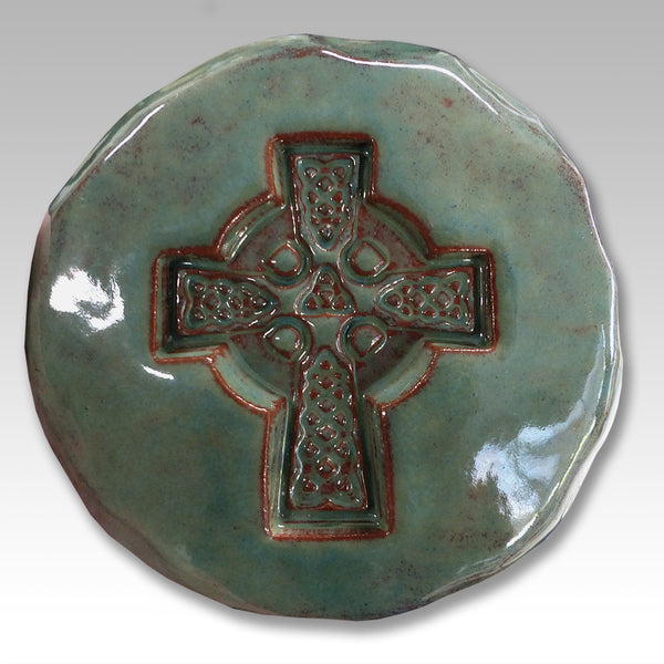 Irish Celtic Christian high cross ceramic green
