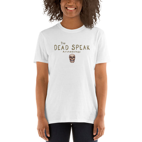 woman wearing white t shirt the dead speak human skull