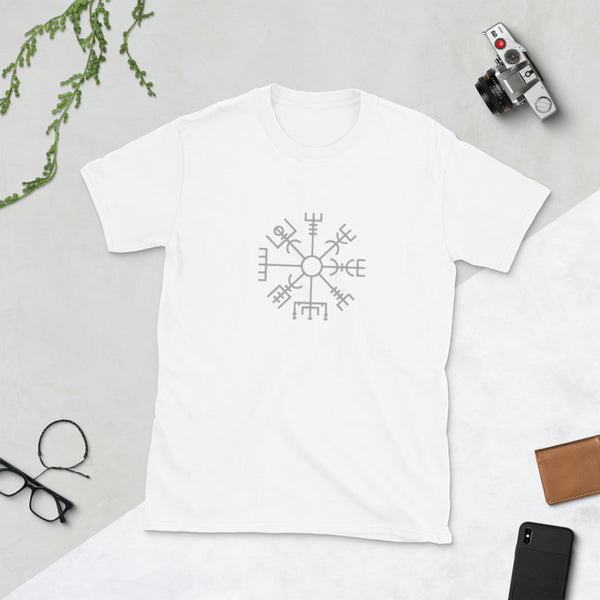 white t shirt Iceland symbol for guidance, good luck protection