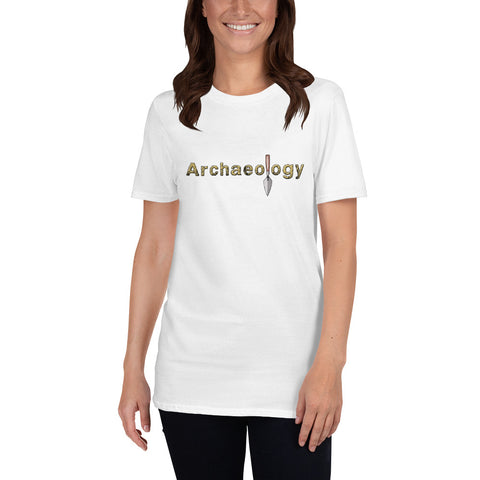 front white t shirt  archaeology word