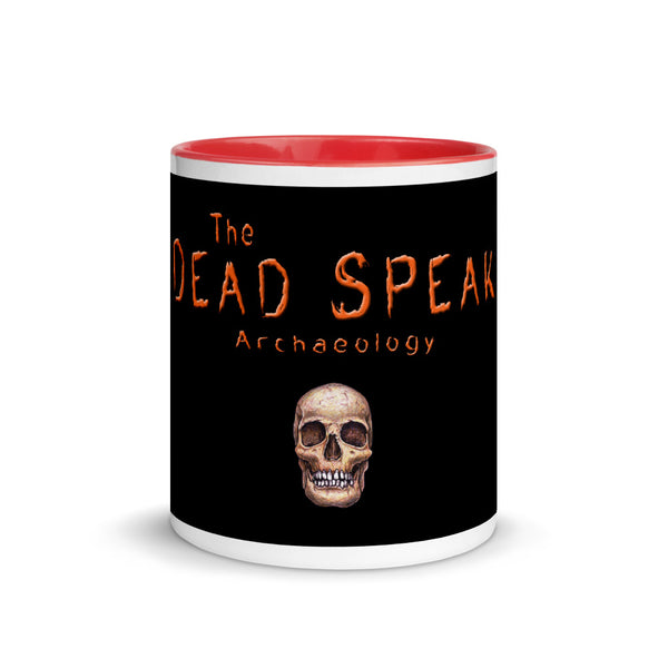 the dead speak and a skull on a coffee mug