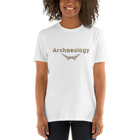 white t shirt crossed trowels and word archaeology front view