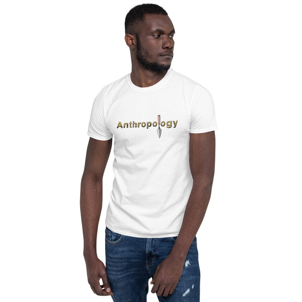 white shirt with anthropology word and a trowel