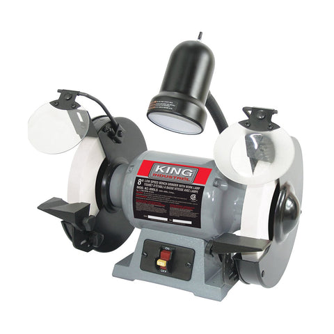 "King Industrial 8"" Low Speed Bench Grinder With Light"