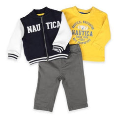 Nautica Boys 3pc Fleece Baseball Jacket, Shirt and Pants Outfit