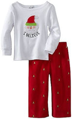 "Mud Pie Baby ""I Believe"" Santa Theme - 2pc Pajama Set"