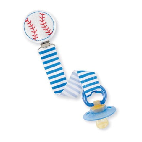 Mud Pie Baby Baseball Pacifier Holder w/ Clip