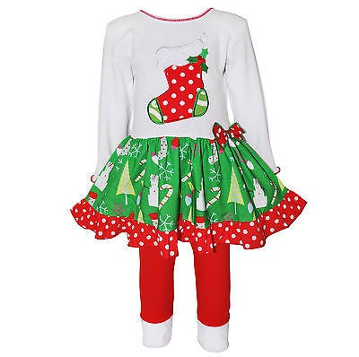 Ann Loren Boutique White/Red/Green Stocking 2pc Outfit