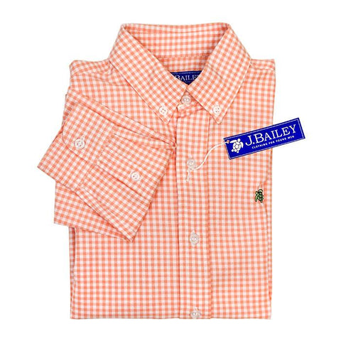 Bailey Boys Roscoe Shirt Cantaloupe Check