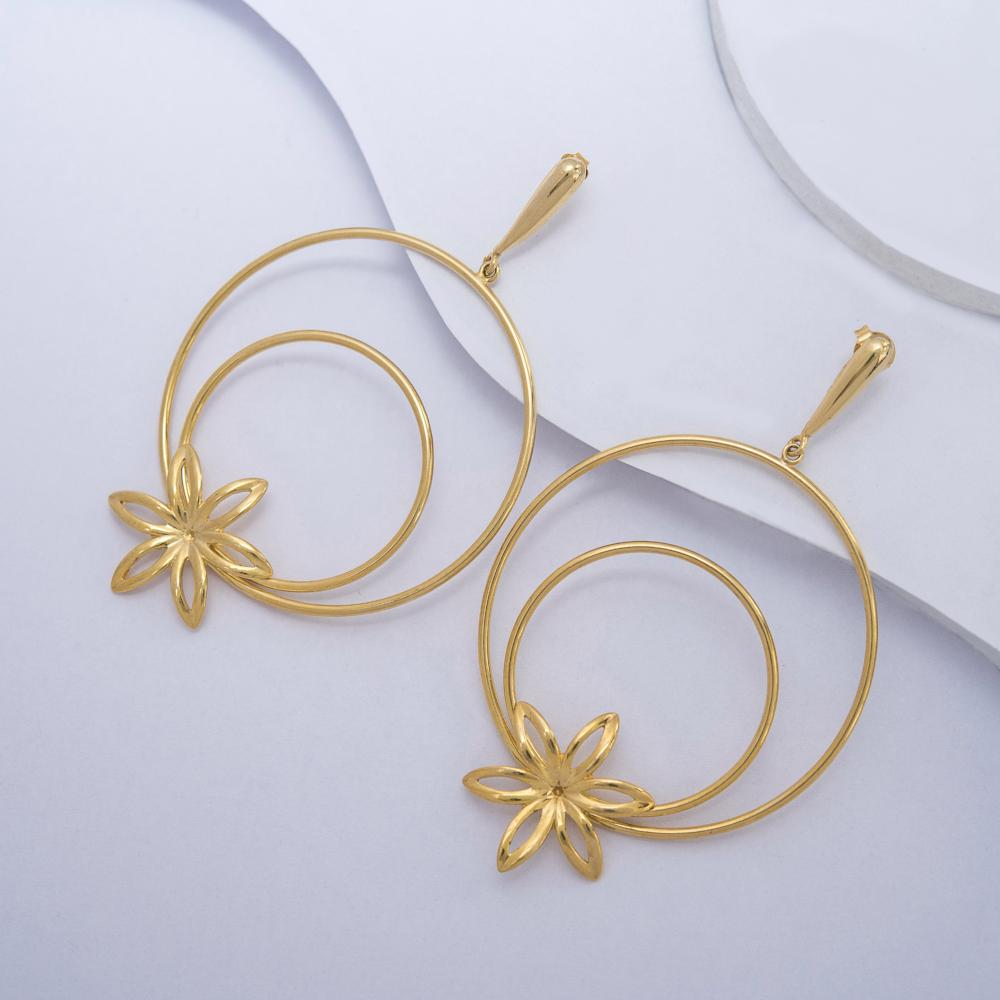 Flower Dangle Earrings in Yellow Gold Filled